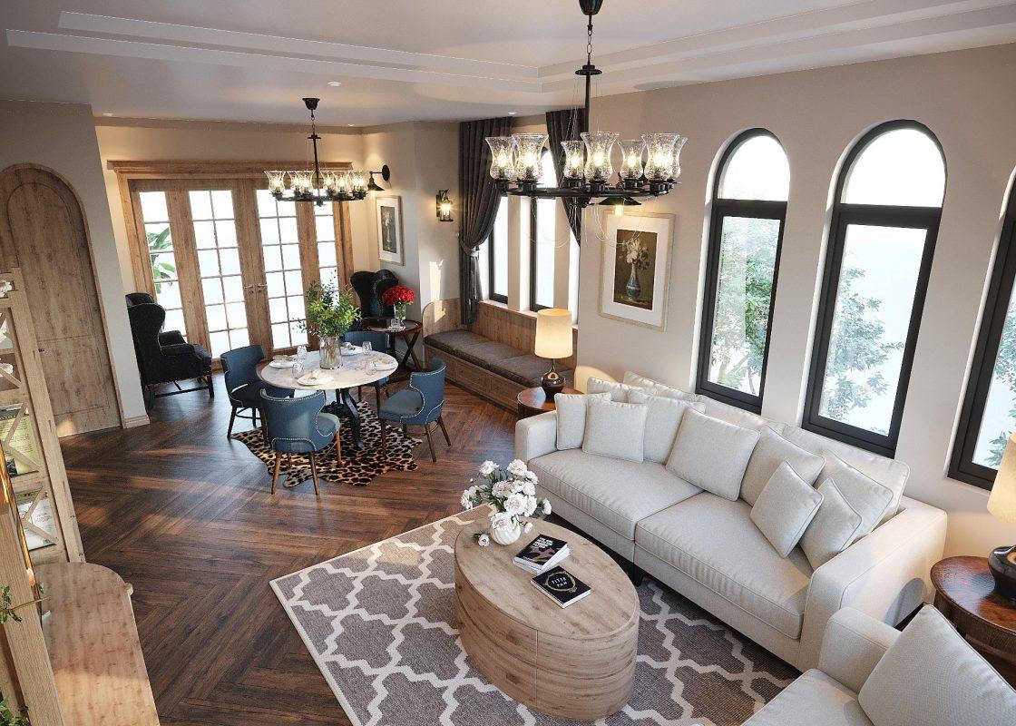 phong cách địa trung hải, Scandinavi, nội thất phòng khách, nội thất trọn bộ phòng khách, nội thất phòng khách gỗ tự nhiên, nội thất phòng khách đẹp, thi công nội thất phòng khách